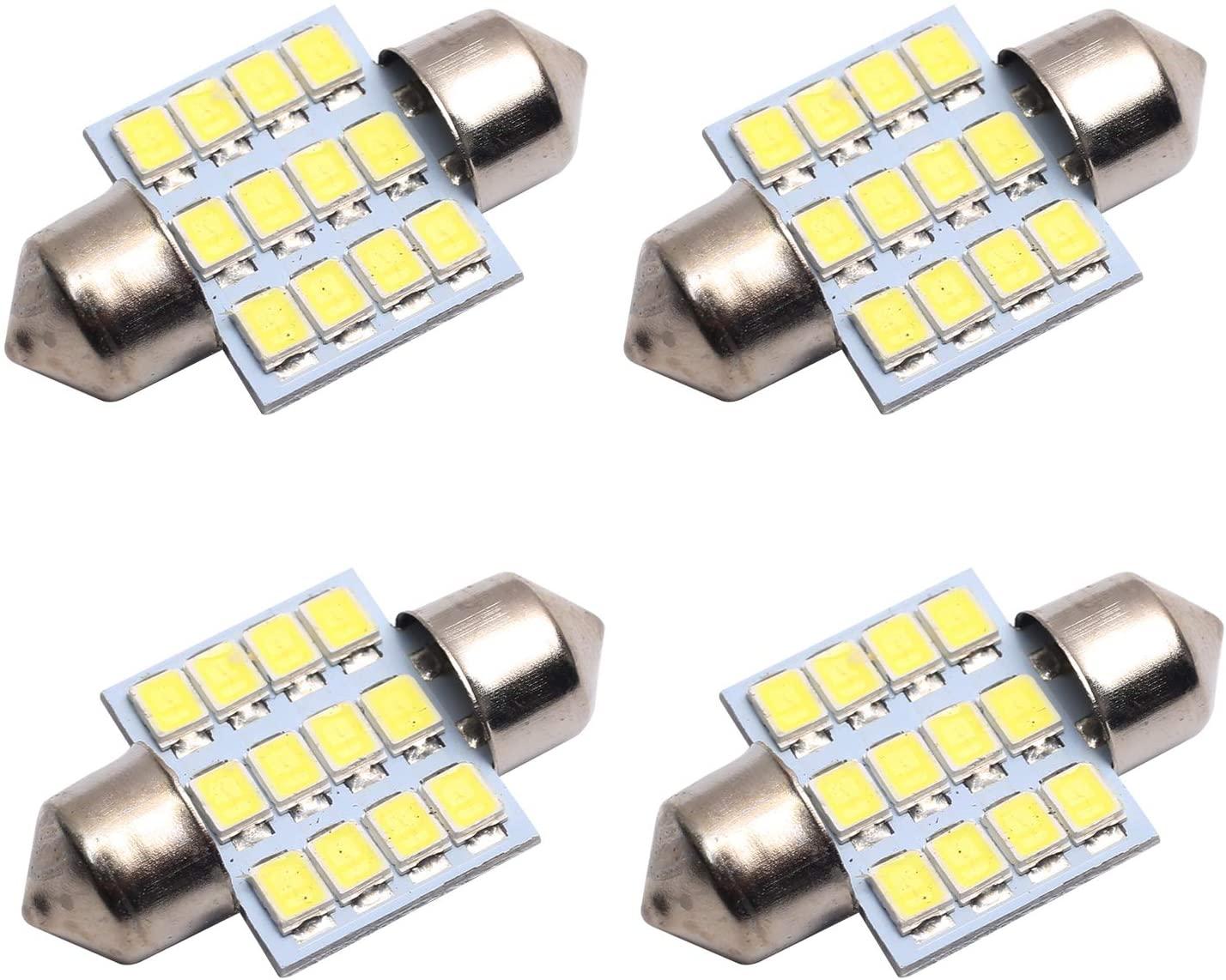 4PCS 3175 LED Bulbs by CENTAURUS, Super Bright 7000K Cool White DE3175 DE3022 3022 31mm 1.22 12SMD Festoon LED Dome License lights Bulbs for Dome,Map,Door,Trunk cargo light etc