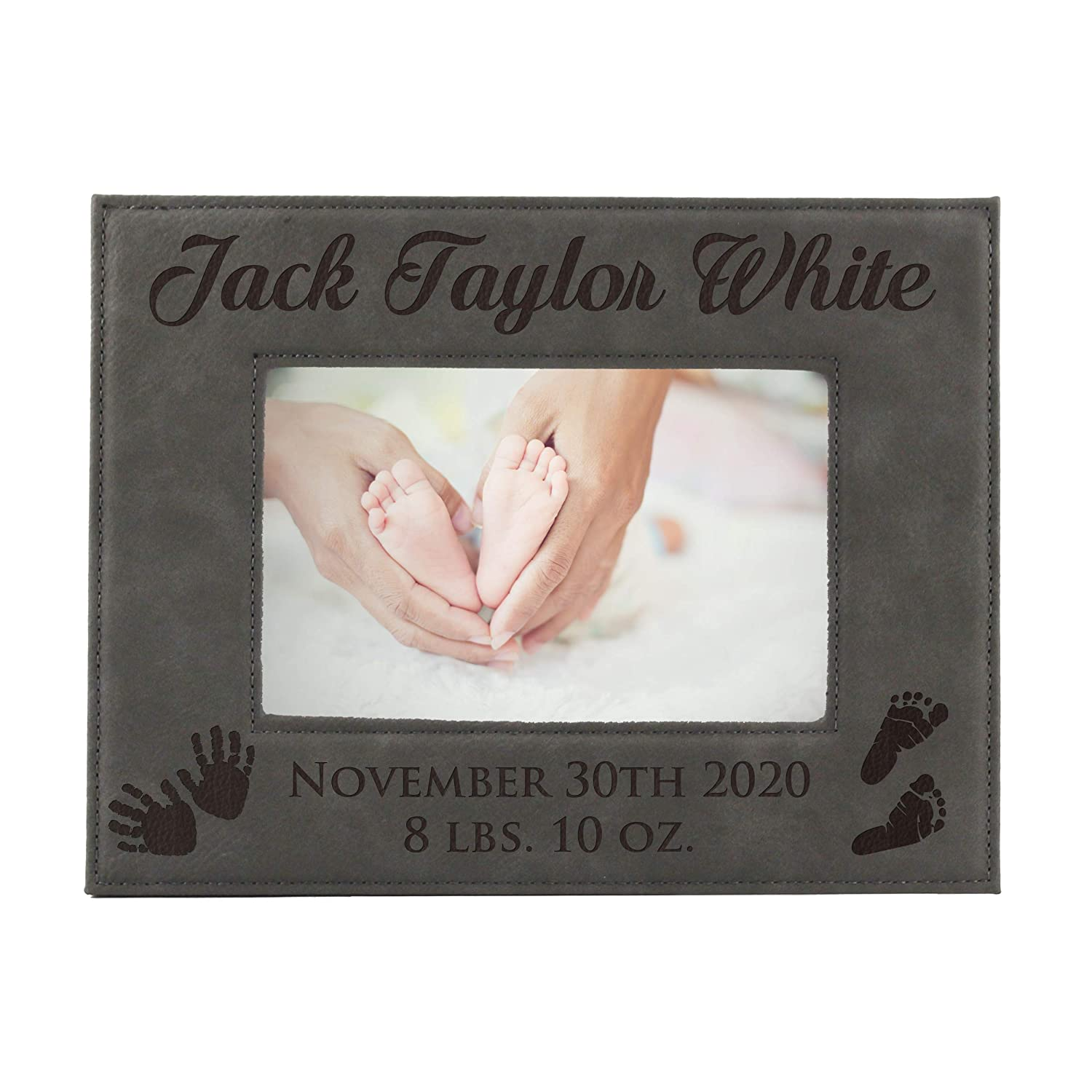 Personalized New Baby Photo Frame - Custom Engraved Boy Girl Picture Frame (4 x 6)