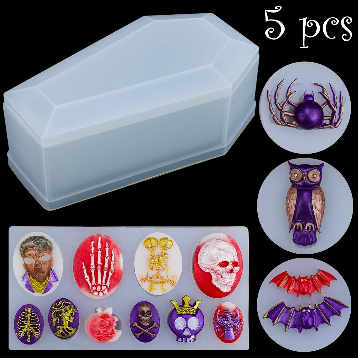 5 Pieces Resin Silicone Molds Set, Box Molds Resin Coffin Molds Including Skulls Silicone Pendant Series, Bat, Spider, Owl Jewelry Casting Molds Silicone for DIY Jewelry Craft Making