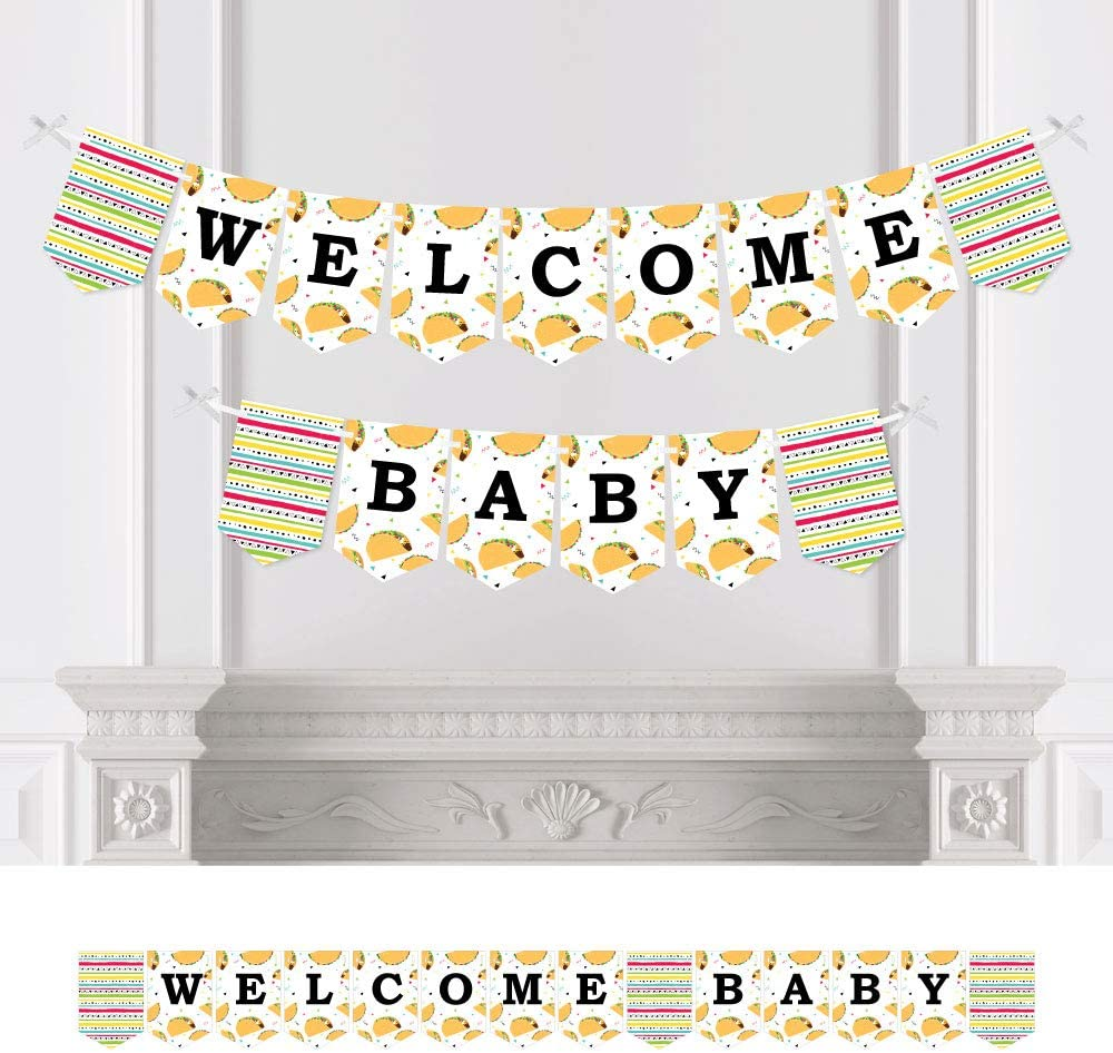 Big Dot of Happiness Taco 'Bout Fun - Mexican Fiesta Baby Shower Bunting Banner - Party Decorations - Welcome Baby