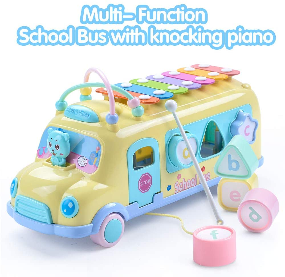 EFOSHM Intellectual School Bus Baby Toy, Piano Bus Toys with Shape Puzzles Knocking Piano Music Educational Toys Gifts for Baby, Toddler, Preschooler(Yellow)