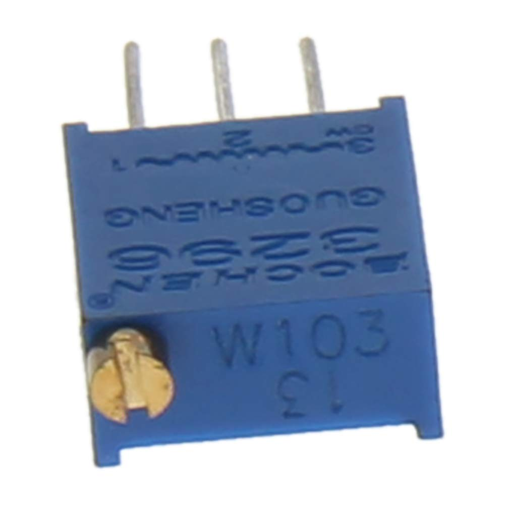 Fielect Carbon Film Variable Resistors Top Adjustable Horizontal Cermet Potentiometer 3 Pin Trimmer Potentiometer 3296W-103 10K 10Pcs
