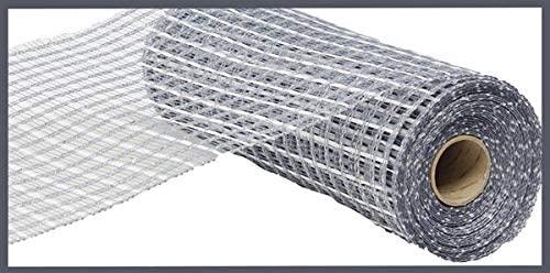10 inch x 30 feet Deco Poly Mesh Ribbon - Thin Double Stripe (Grey Laser Silver)