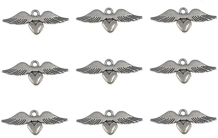 30pcs Love Heart Angel Wing Punk Charms Pendants for DIY Jewelry Making Accessories(Antique Silver)