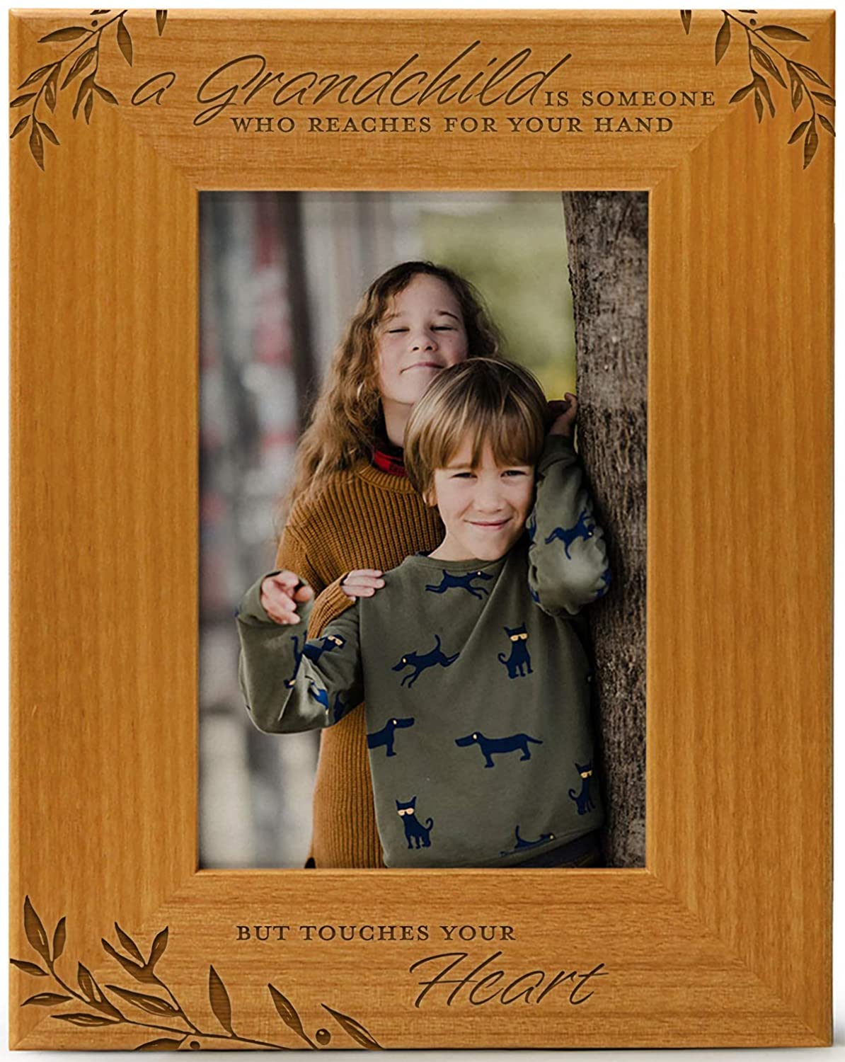 A Grandchild is Someone Who Reaches For Your Hand But Touches Your Heart, Engraved Natural Wood Photo Frame Fits 4x6 Vertical Portrait for Grandparents, Grandparent's Day, Grandma Gift, Grandpa Gift