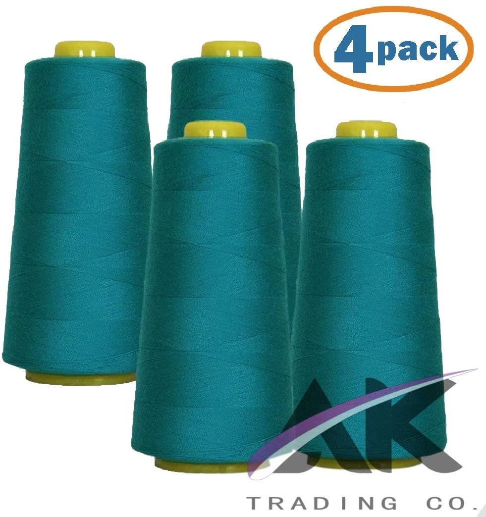 AK Trading 4-Pack Aquamarine All Purpose Sewing Thread Cones (6000 Yards Each) of High Tensile Polyester Thread Spools for Sewing, Quilting, Serger Machines, Overlock, Merrow & Hand Embroidery
