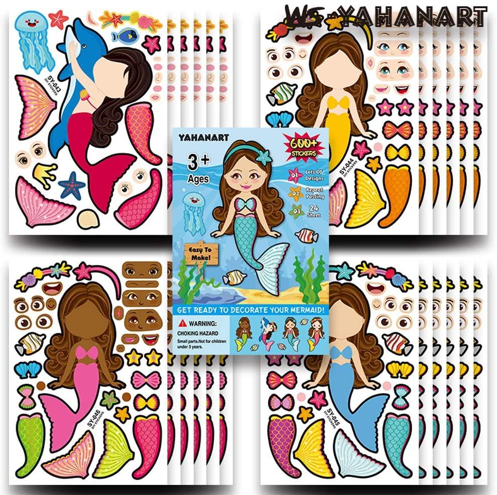25 PCS Children's Cartoon DIY Sticker Sheets,Kids Party Favor Supplies Craft,Let Your Kids Get Creative & Design Their Favorite Sticker! (Mermaid)