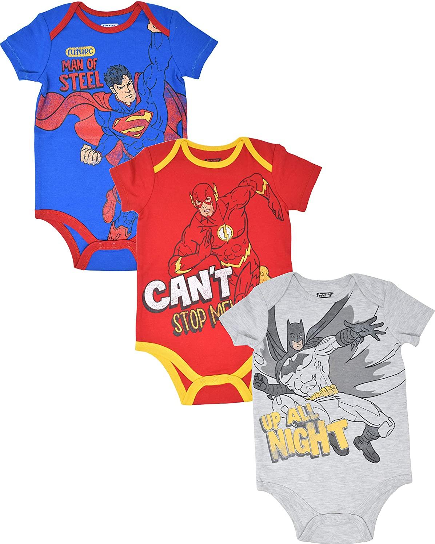 Warner Bros. Justice League Baby Boys 3 Pack Bodysuits: Batman, Superman, Flash