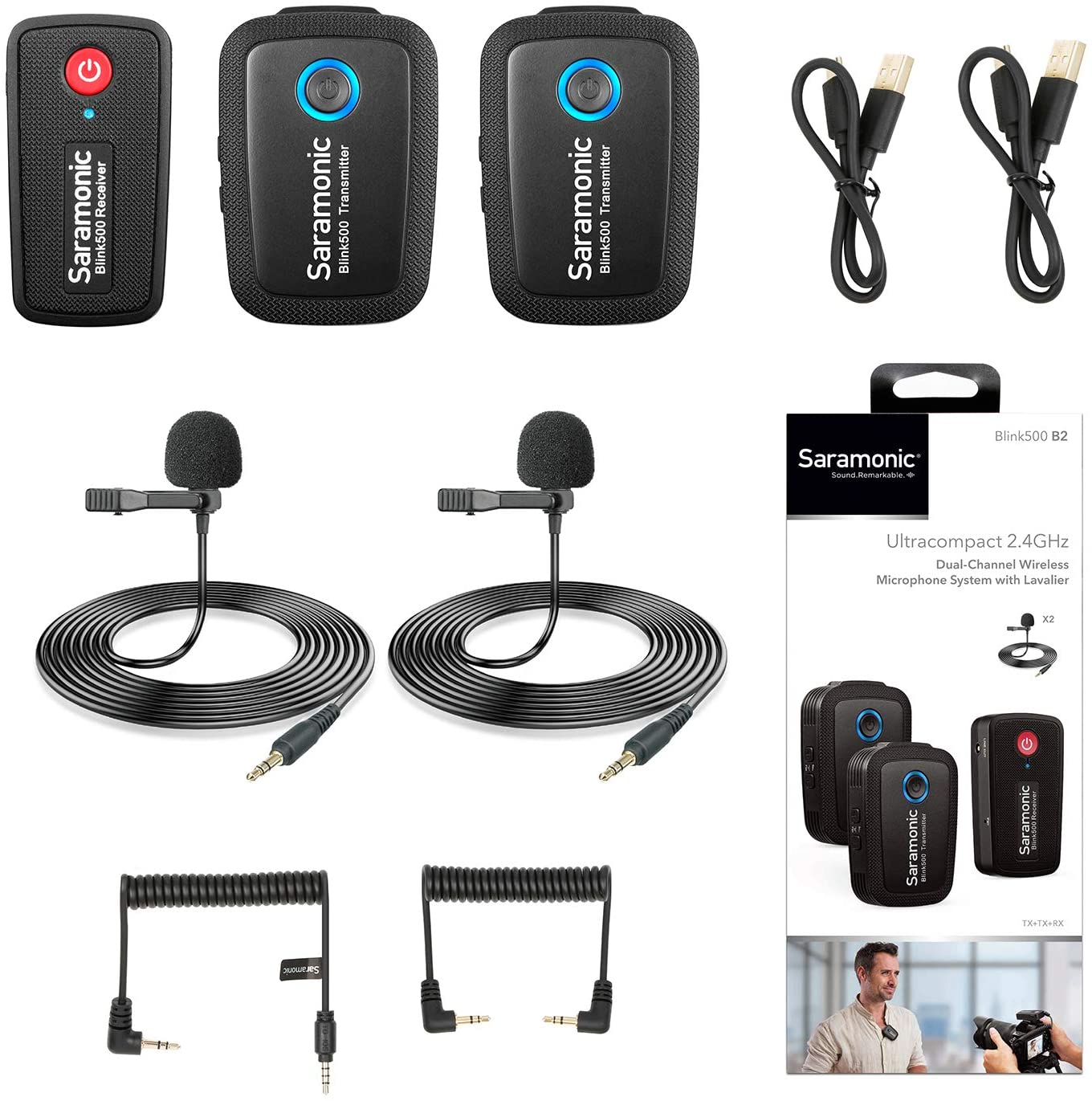 2.4GHz Wireless Lavalier Microphone System for Video,Saramonic Blink500 B2 Dual-Channel Mic Two Transmitters for DSLR Camera, Mirrorless, and Smartphone for YouTube Facebook Live Vlogging