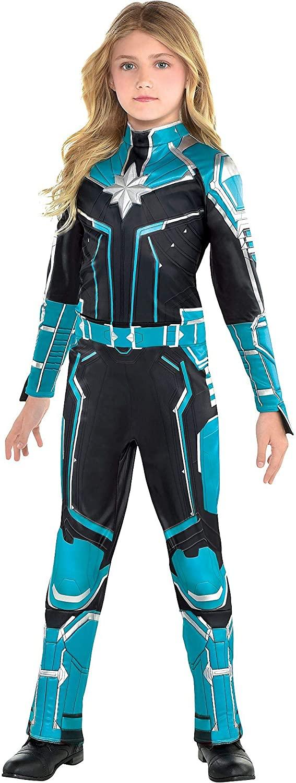 Costumes USA Captain Marvel Starforce Halloween Costume for Girls, Superhero Jumpsuit, Small, Dress Size 4-6
