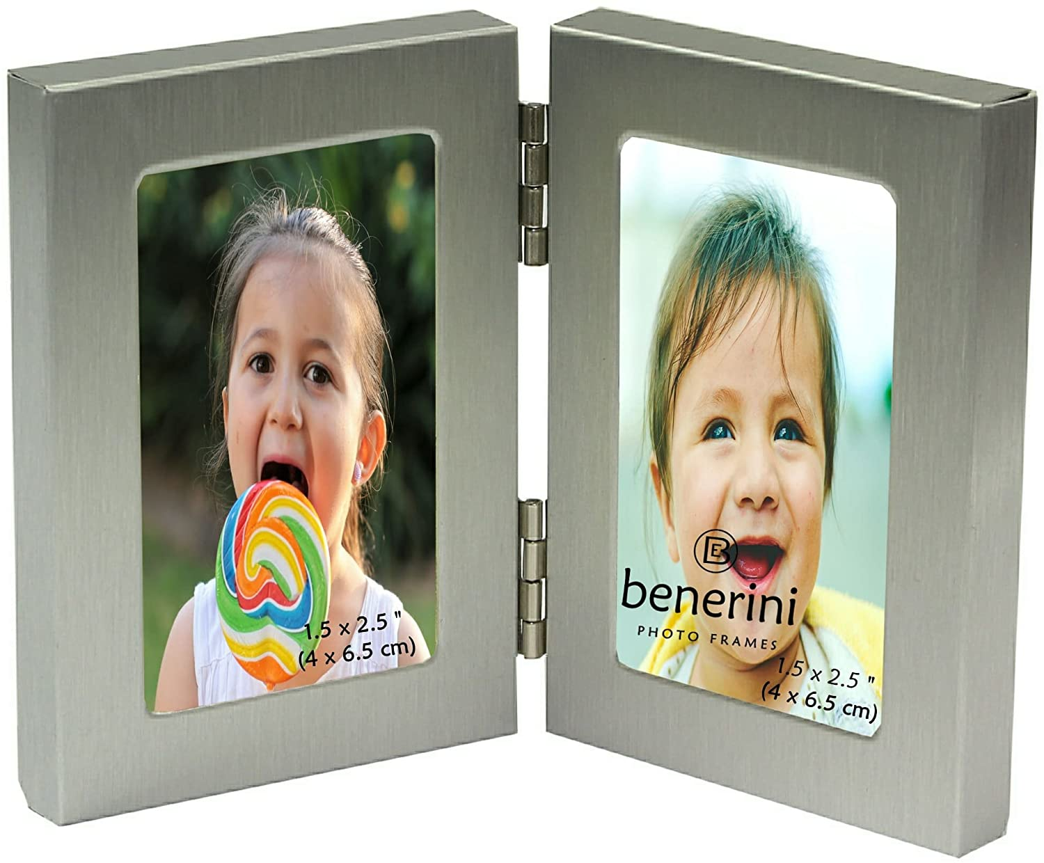 benerini Brushed Aluminium Satin Silver Colour - Miniature Twin 2 Picture Vertical Double Folding Photo Frame - Takes 2 Photos of 1.5 x 2.5 Inches (4 x 6.5 cm) (Portrait Style)