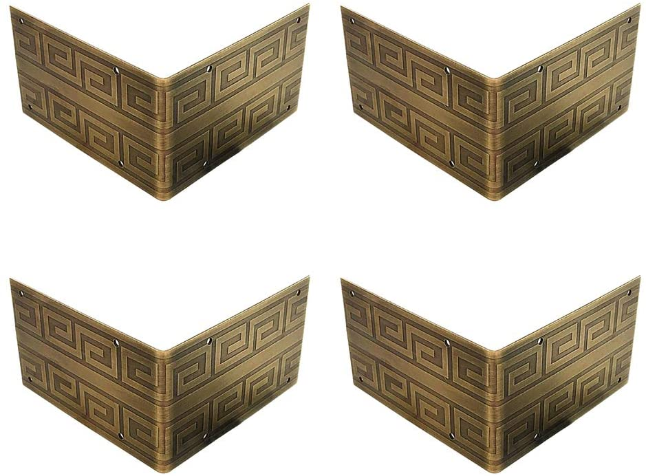 Tiazza 4Pcs Pure Brass Antique Corner Protectors Classical Furniture Tables and Chairs Cabinet Corner Guard