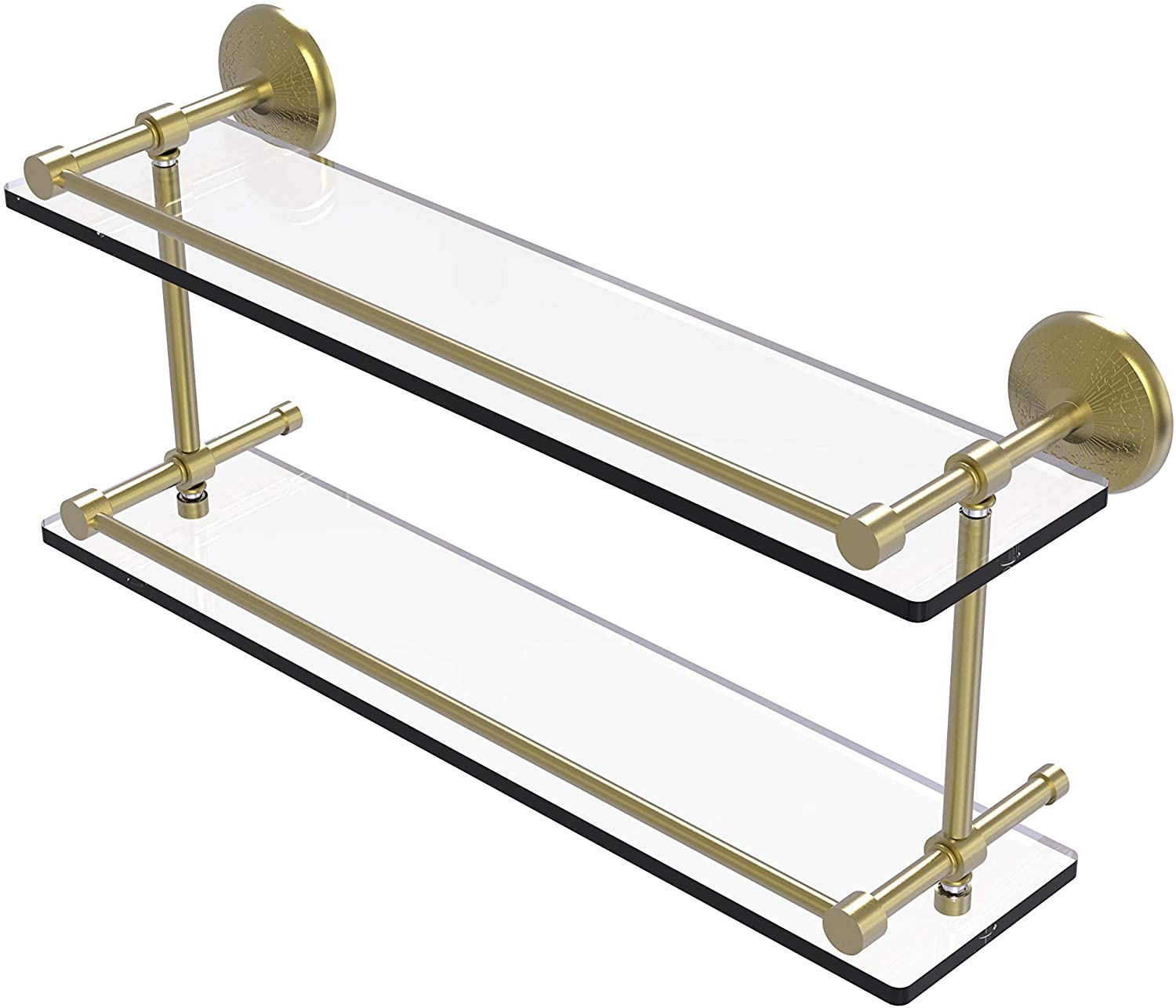 Allied Brass MC-2/22-GAL-SBR Monte Carlo 22 Inch Double Gallery Rail Glass Shelf, Satin Brass