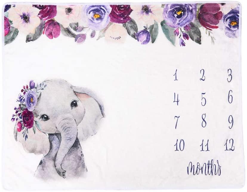 DaMohony Baby Monthly Milestone Blanket Newborn Photo Props Backdrop Elephant Flannel Blanket for Newborn Infants