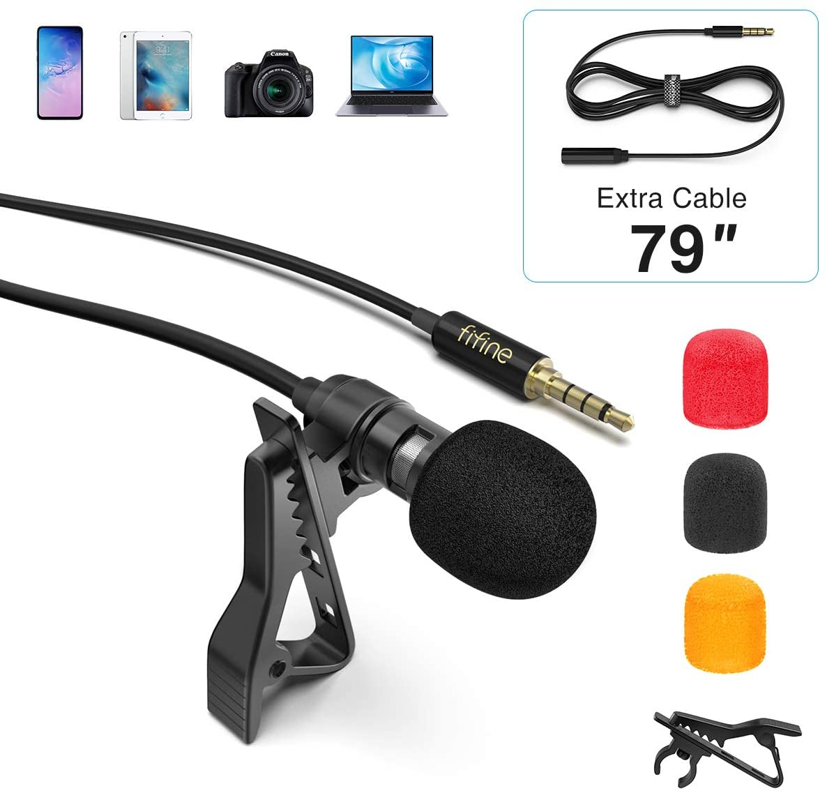 FIFINE Lavalier Lapel Microphone for iPhone Smartphone PC Computer, Mini Clip-on 3.5mm Condenser Mic Kit for Recording YouTube Video Vlog Podcast ASMR Zoom, 79 Inch Extension Cord, Omnidirectional-C2A