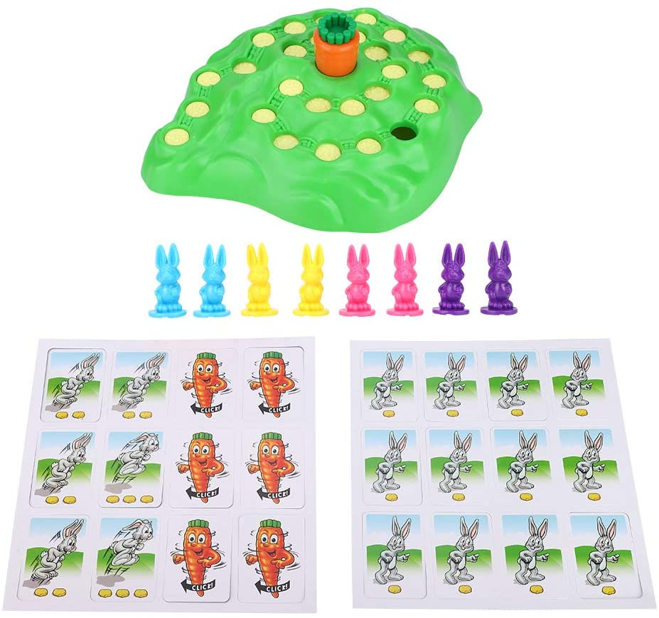 Yuehuam Bunny Hop Funny Rabbit Family Fun Board Game Memory & Color Recognition Preschool Puzzle Game for Children 2-4 Players
