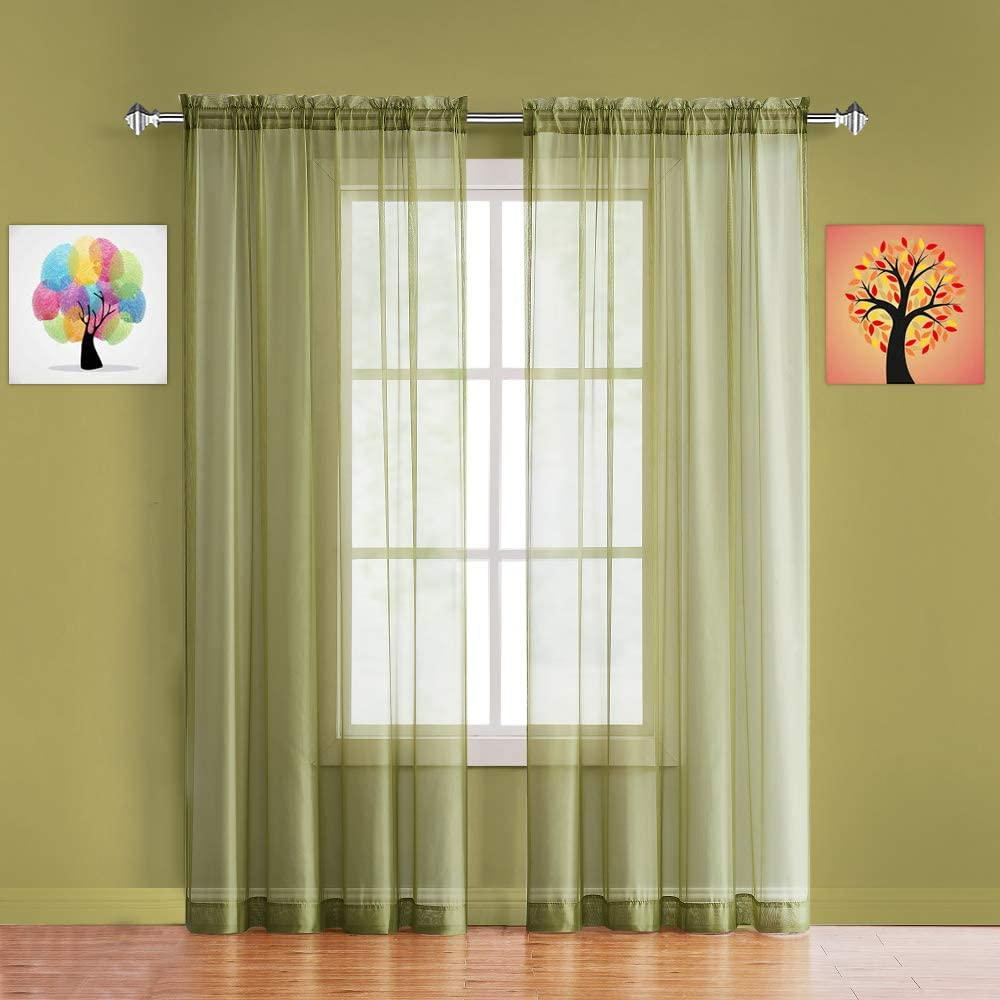 Warm Home Designs Pair of Long Length Sage Green Sheer Window Curtains. Each Voile Drape is 56 X 96 Inches in Size. Great for Kitchen, Living or Kids Room. 2 Fabric Panels Included. AM Sage 96