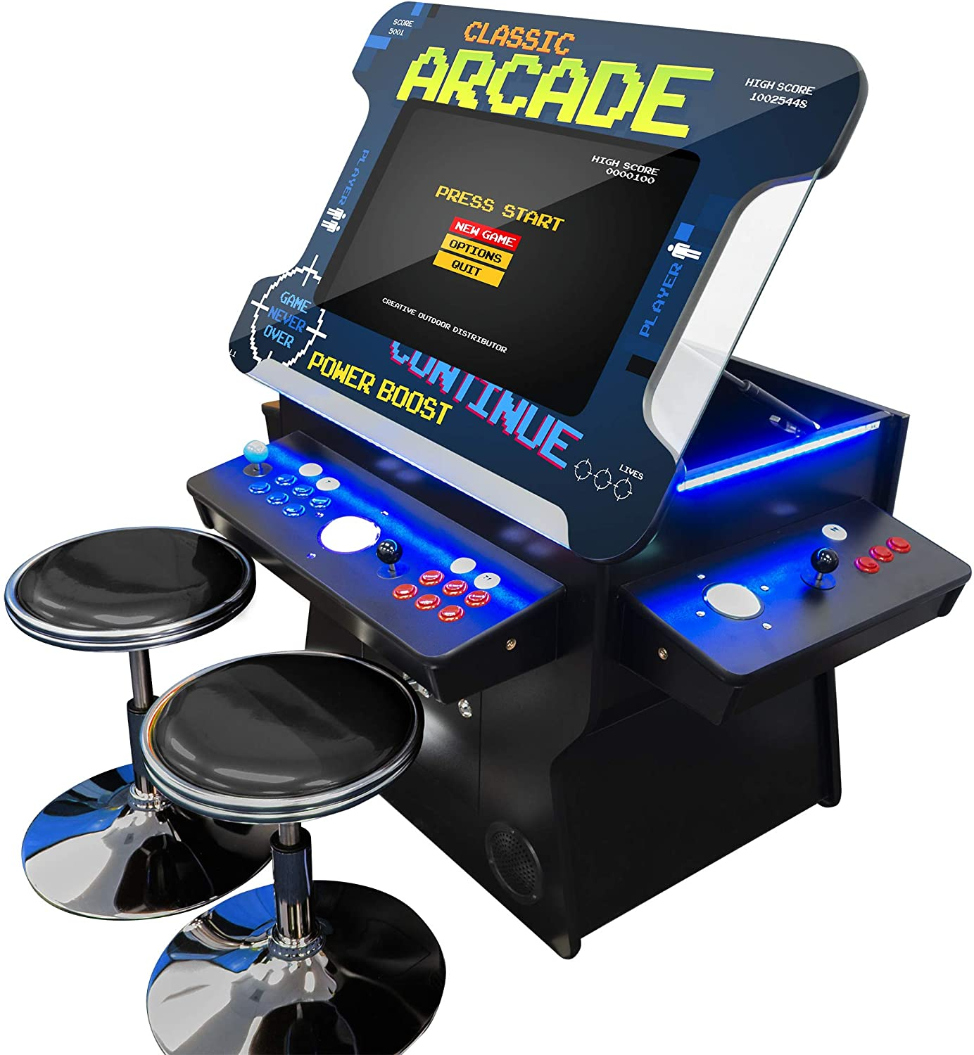 Creative Arcades Full Size Commercial Grade Cocktail Arcade Machine | Trackball | Three-Sided | 1162 Classic Games | 4 Sanwa Joysticks | 2 Stools Included | 3 Year Warranty | 26 Lifting Screen