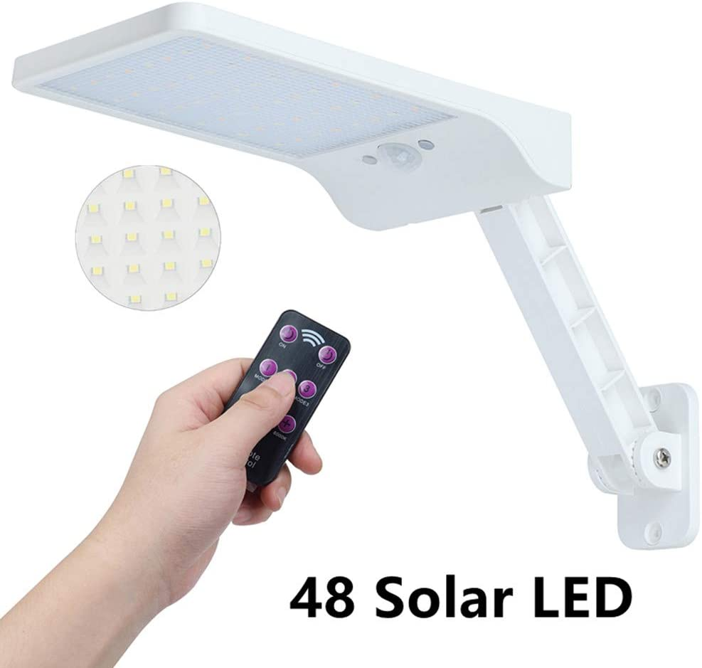 Solar 48LED Lights Outdoor Motion Sensor Security Area Lighting Wall Sconces Easy-to-Install Waterproof for Patio Deck Yard Garden White 1pc