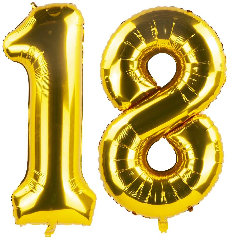 Tim&Lin 40 inch Gold 18 Number Jumbo Foil Mylar Helium Balloons - Party Decoration Supplies Balloons - Great for 18th Birthday or 18th Any Anniversary Parties Events