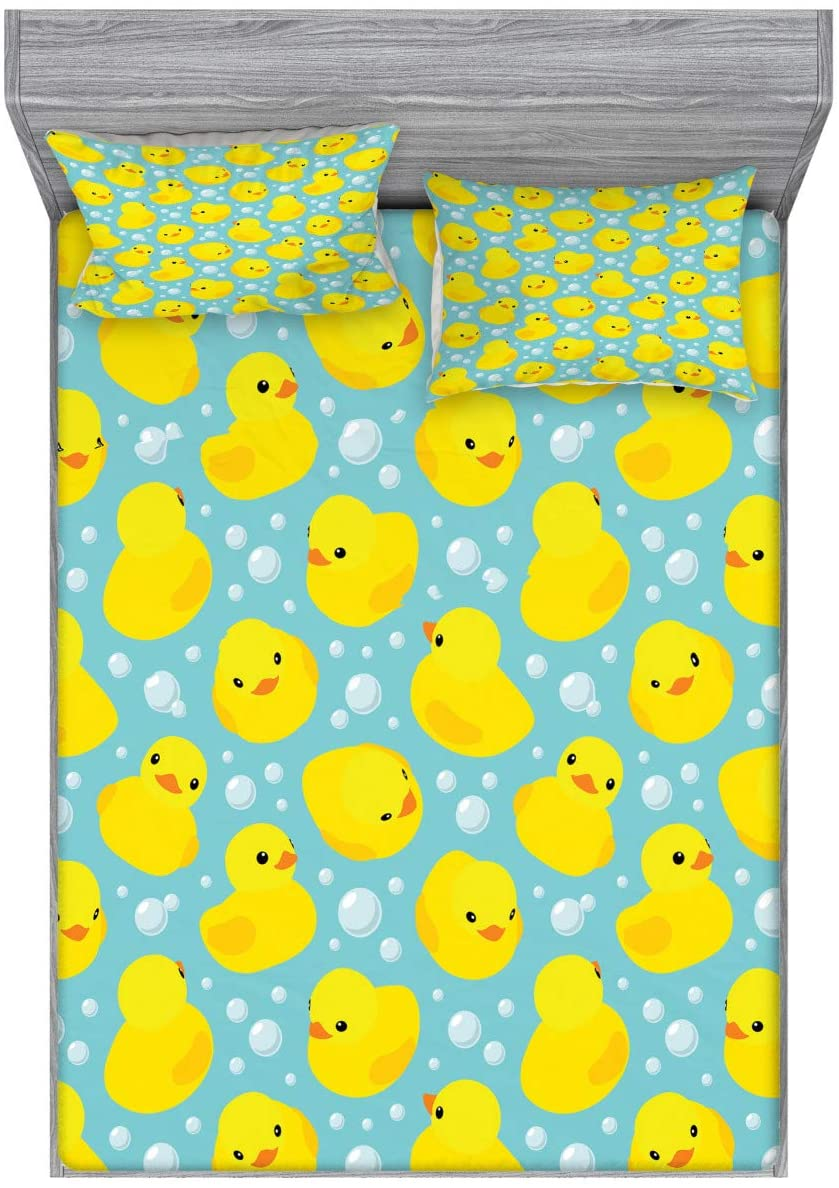 Lunarable Nursery Fitted Sheet & Pillow Sham Set, Happy Rubber Duck and Bubbles Cartoon Pattern Childhood Kids Theme Art, Decorative Printed 3 Piece Bedding Decor Set, Queen, Aqua and Yellow