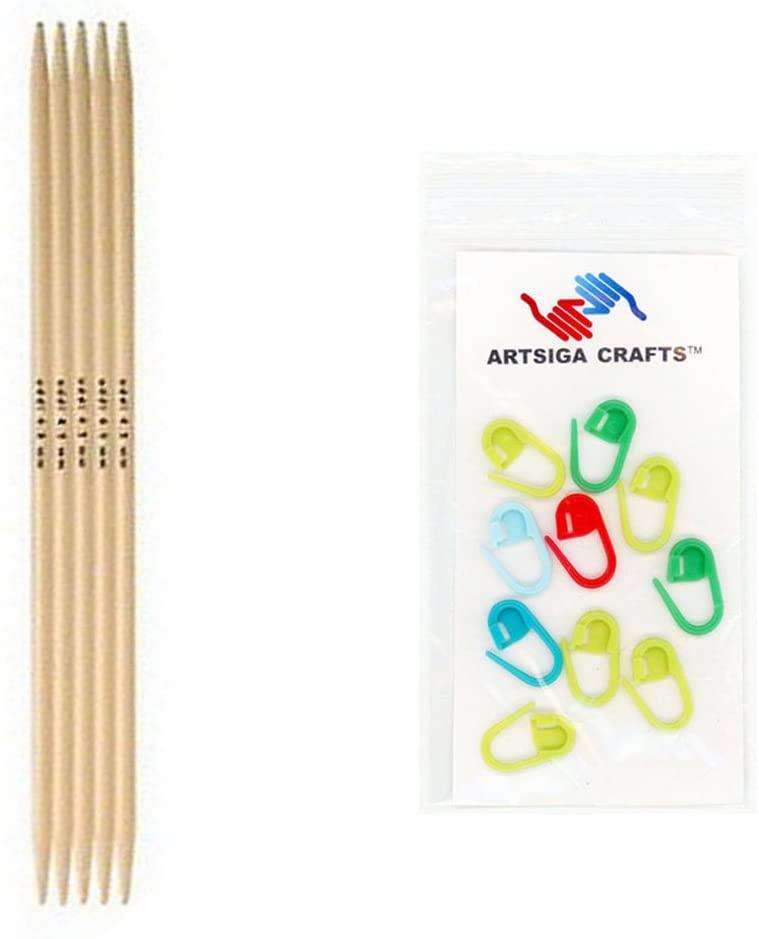 addi Knitting Needles Double Pointed Natura Bamboo 6 inch (15cm) (Set of 5) Size US 06 (4.0mm) Bundle with 10 Artsiga Crafts Stitch Markers