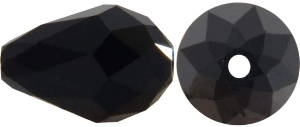 50pcs 10x8mm Adabele Austrian Teardrop Crystal Beads Jet Black Compatible with 5500 Swarovski Crystals Preciosa SST-1023