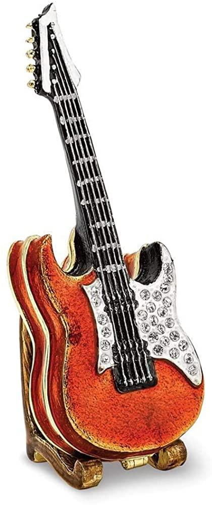 Bejeweled Pewter Enamel Red Guitar Trinket Box