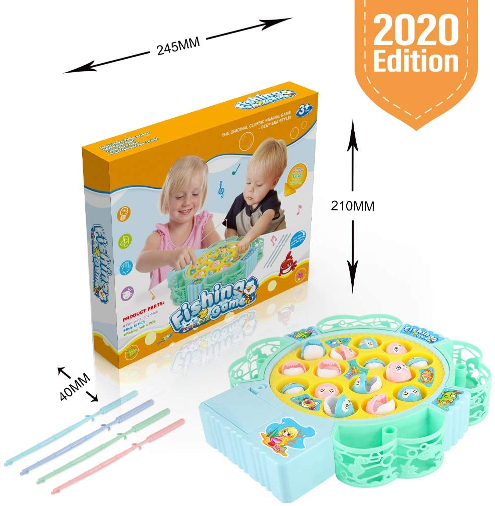 DUJUANHUA Kids Toys for 2 4 5 6 3 Year Old Girls Gifts, Fishing Game Toys Rotating Board with Music for 2 3 5 4 Year Old Girl Toys, Birthday Gifts for 2 3 4 5 6 Year Old Girls Toddler Toys Age 2-4