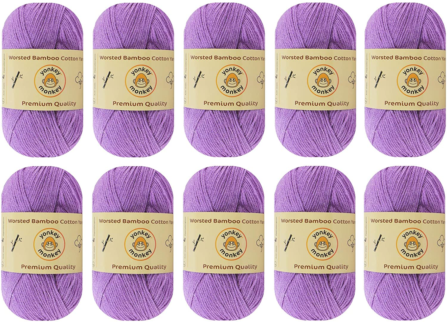 Yonkey Monkey Skein Tencel Yarn - 70% Bamboo, 30% Cotton - Softest Quality Crocheting, Knitting Supplies - Lightweight and Breathable Fabric Threads - 10-Pack Set, 210 Meters (Purple 9029)