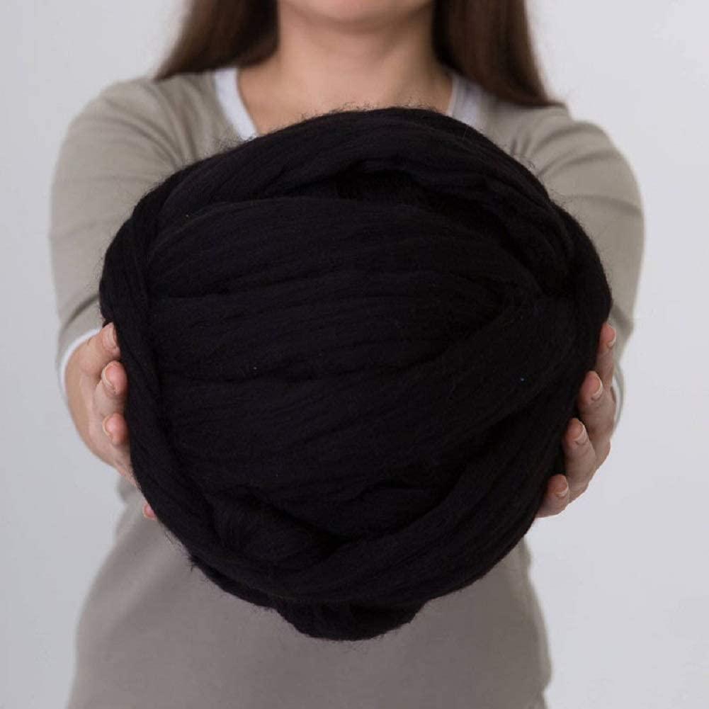 DIRUNEN Merino Wool Yarn Big Chunky Yarn Super Wool Roving Extreme Arm Knitting Giant Chunky Knit Blankets Throws Black 8 lbs