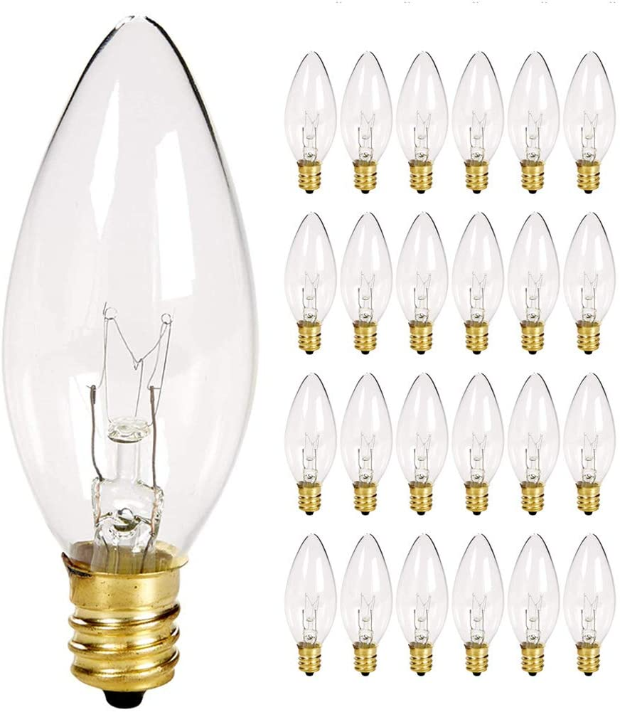 25 Pack Clear Torpedo Tip Replacement Bulbs, Replacement Light Bulbs for Electric Candle Lamps, Window Candles, Chandeliers- Clear Incandescent E12 Candelabra Base Light Bulbs- 120V 7 Watts Bulbs