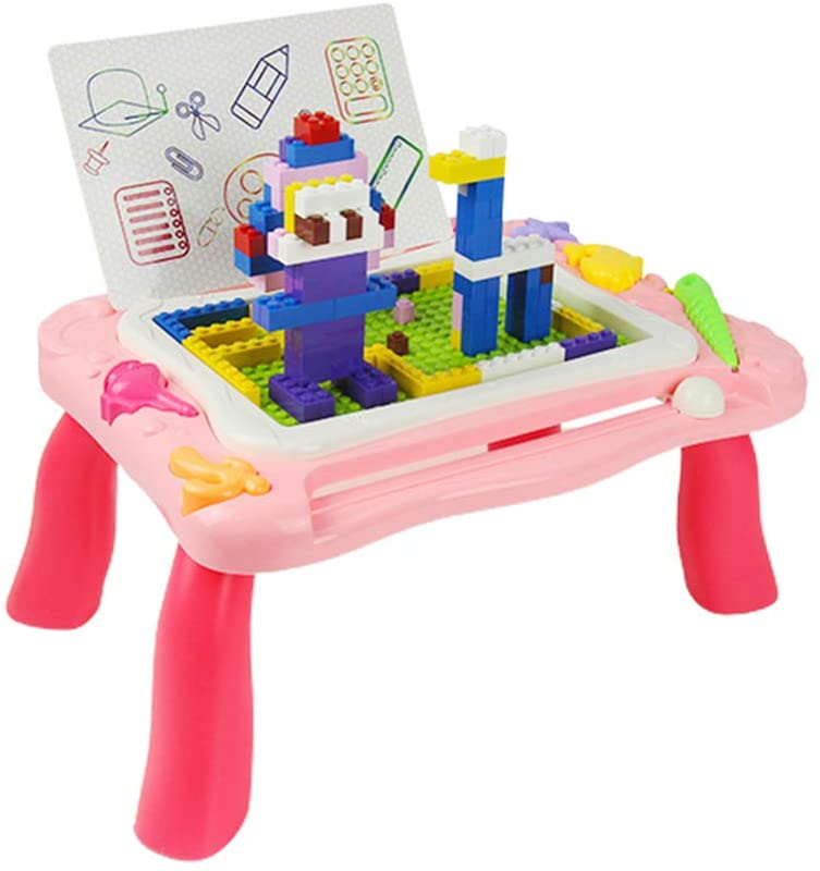 Kids Activity Table, Multi-Function Baby Magnetic Drawing Board Educational Building Blocks Table Portable Detachable Learn Activity Table Building Toys for Toddlers Kids