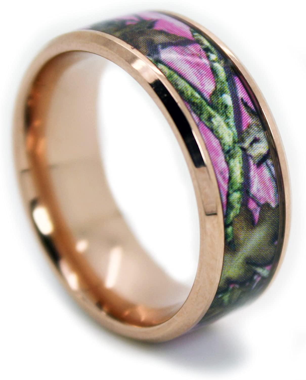 1CAMO Camo Wedding Rings Pink Camo Titanium Wedding Band - Rose Gold Plated