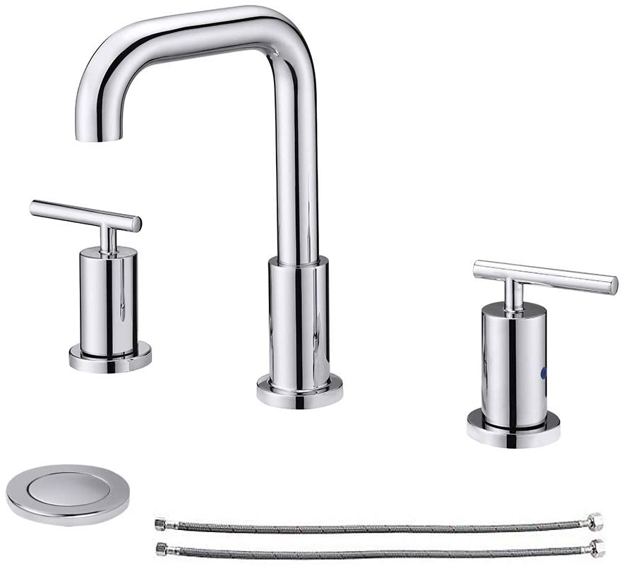 NEWATER Two Handle 8 inch Widespread Three Hole Bathroom Sink Faucet with Pop Up Drain & Supply Hoses Basin Faucet Mixer Tap,Polished Chrome(CWF030B-C)