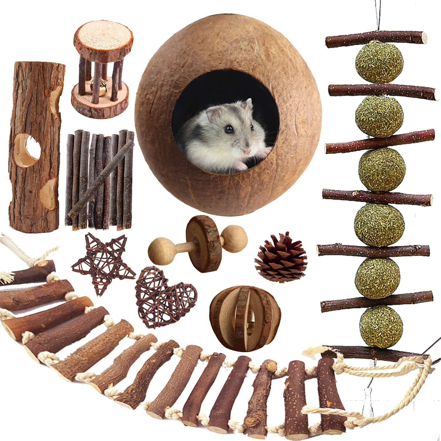 Mynest Hamster Chew Toys 20pcs Natural Wooden Pine Mouse Toys,Bell Roller, Bell Ball, Unicycle, Coconut Shell, Tunnel, Pet Tooth Chew Molar String, Guinea Pigs Rats Chinchillas Toys