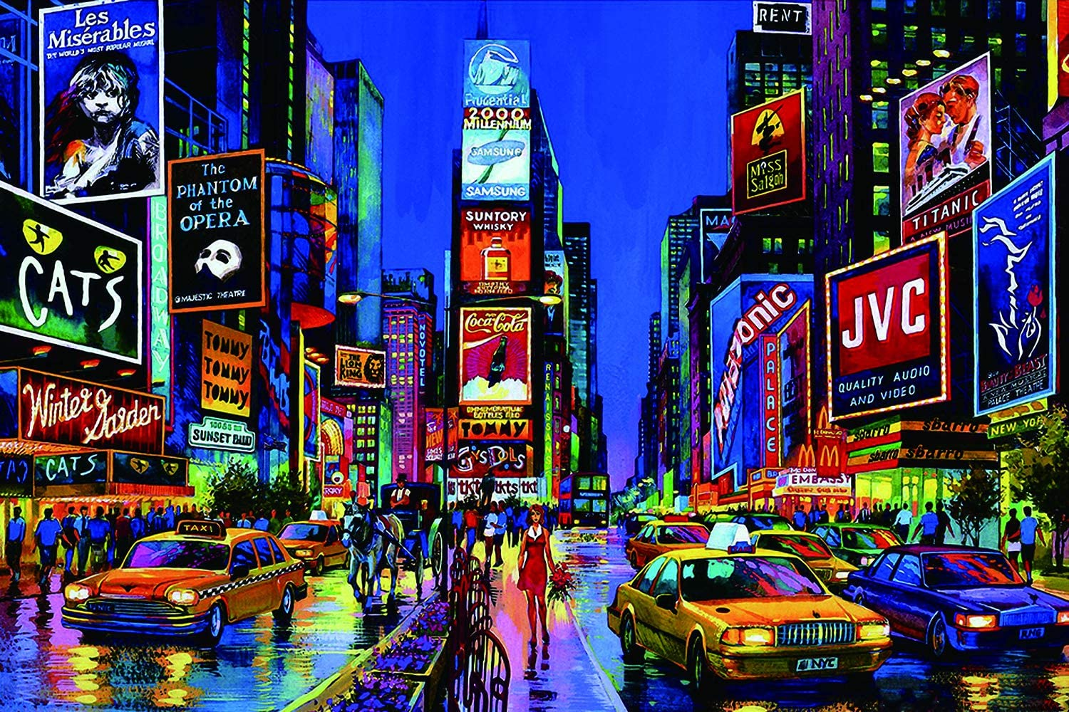 1000 Piece Wooden Jigsaw Puzzle, Newyork Times Square - Educational Intellectual Decompressing Fun Game Puzzle for Adult Teens Kids