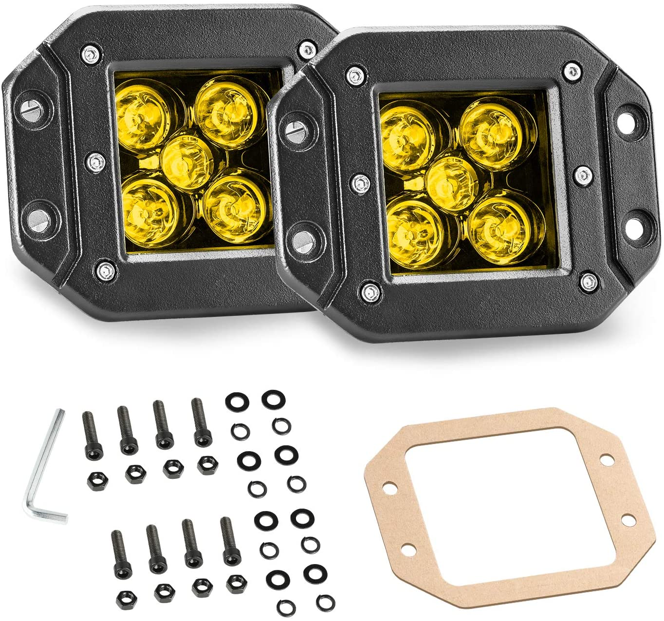 YCHOW-TECH Flush Mount Light Pods, 2Pcs 5 Inch 100W Amber LED Fog Lights LED Cubes Spot Beam Yellow Flush LED Work Light Off Road LED Driving Light for Truck SUV ATV UTV Marine