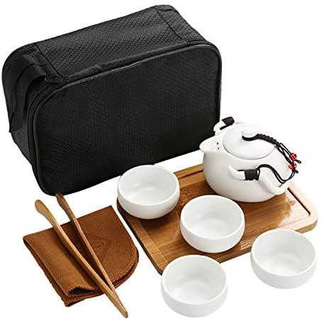 KANG Handmade Ceramic Chinese/Japanese Vintage KungfuTraditional Design Tea Set with a Portable Travel Bag Traditional Design 4 Cups with Teapot (White)