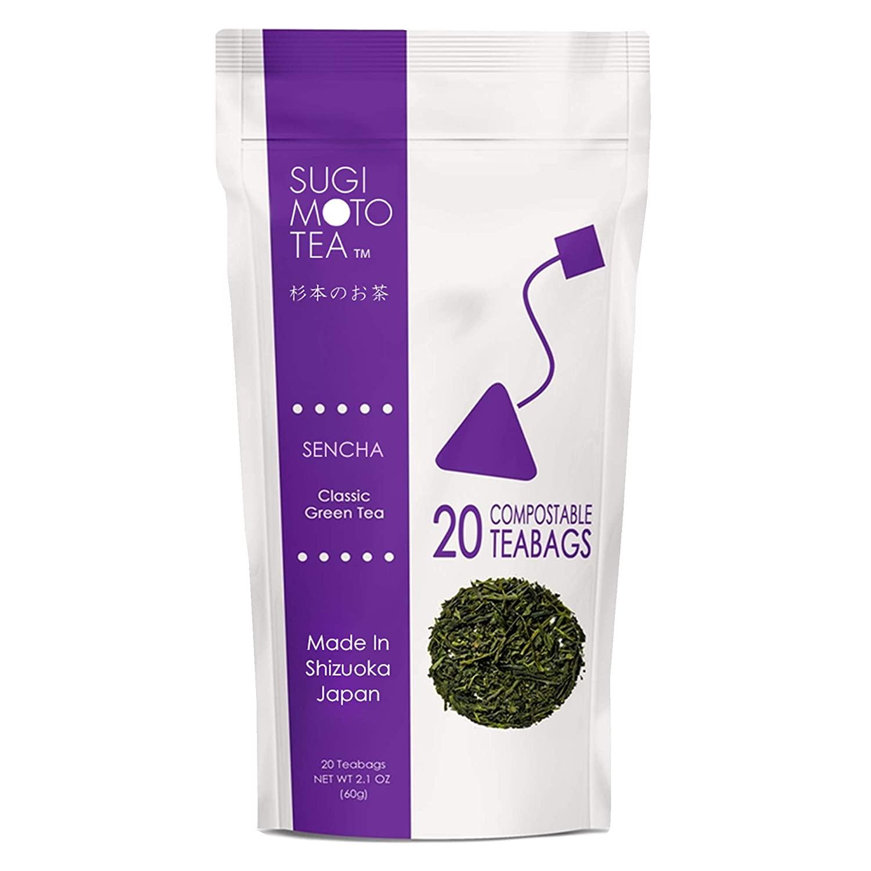 SA Sugimoto Tea Company Signature Sencha Fukamushi - Authentic Japanese Green Tea - 煎茶深蒸し - Antioxidants, Caffeine, L-Theanine - 20 Compostable Pyramid Teabags in Resealable Pouch (Pack of 3)
