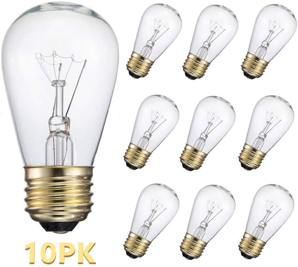 10-Pack S14 Replacement Light Bulbs: 11 Watt Warm Incandescent Edison Light Bulbs with E26 Medium Base for Commercial Grade Outdoor Patio String Lights