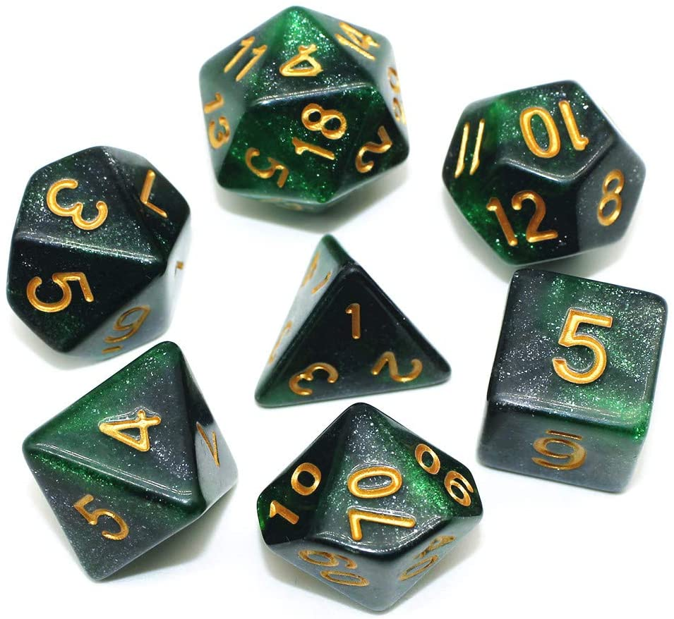 HD Dice DND RPG Nebula Dice Set Fit Dungeons and Dragons D&D RPG Role Playing Games Polyhedral Dice Set D20 D12 D10 D8 D6 D4 %D (Green Black)