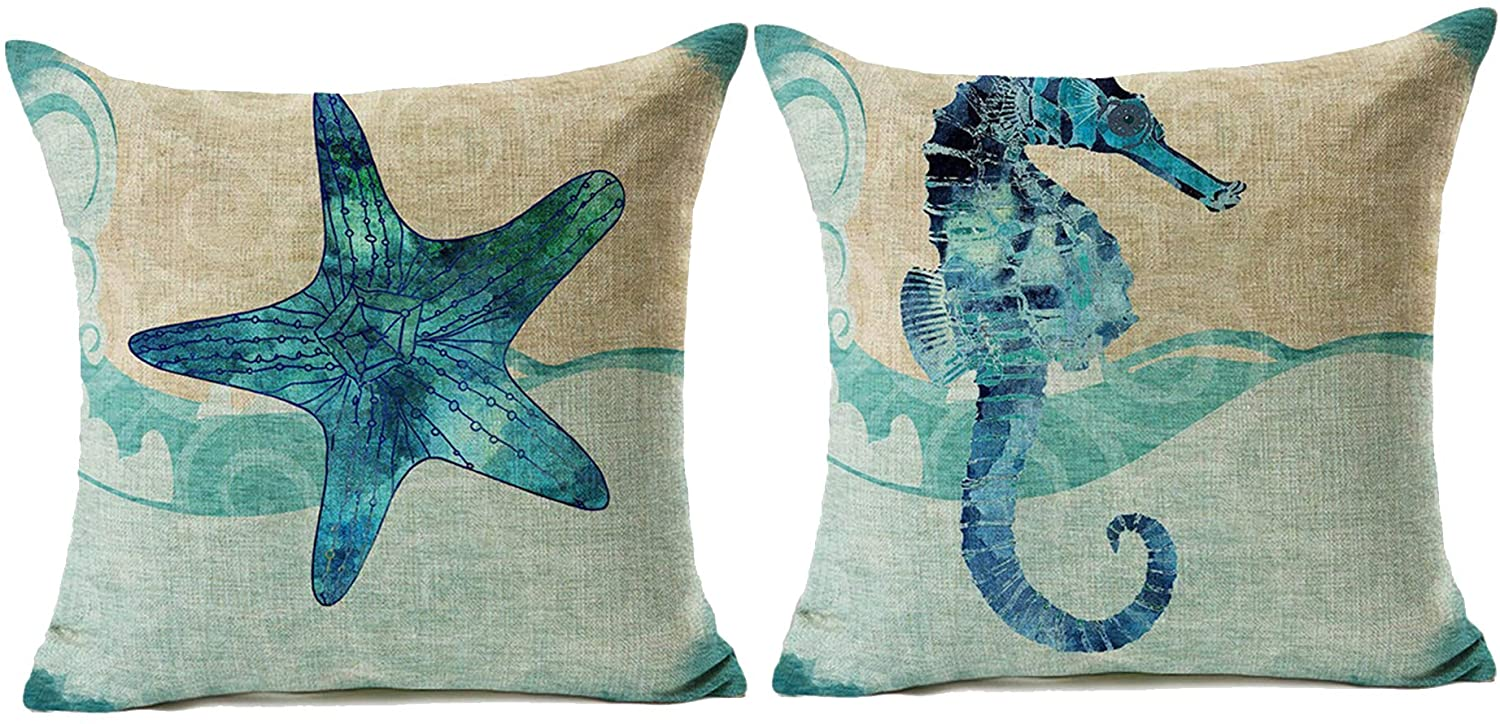LuckyCow Throw Pillow Covers 18x18 Inch Set of 2 - Cotton Linen Blue Theme Ocean Starfish Seahorse Beach Game Pillow Covers, Decorative Pillowcase for Home Sofa Bedding Couch Outdoor Cushion Covers.