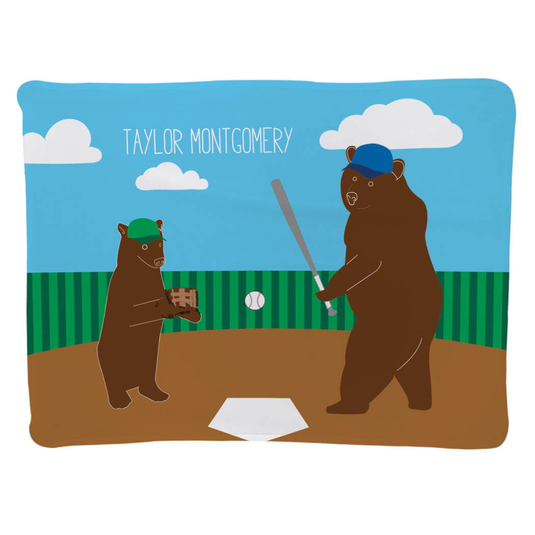 Personalized Baseball Baby & Infant Blanket   Bears with Custom Name