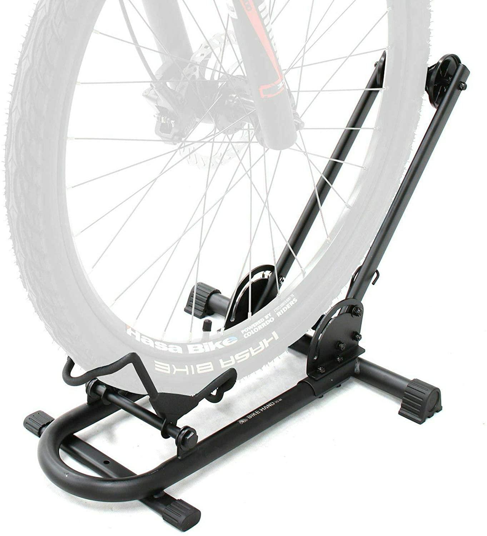 BIKEHAND Bicycle Floor Type Parking Rack Stand - for Mountain and Road Bike Indoor Outdoor Nook Garage Storage