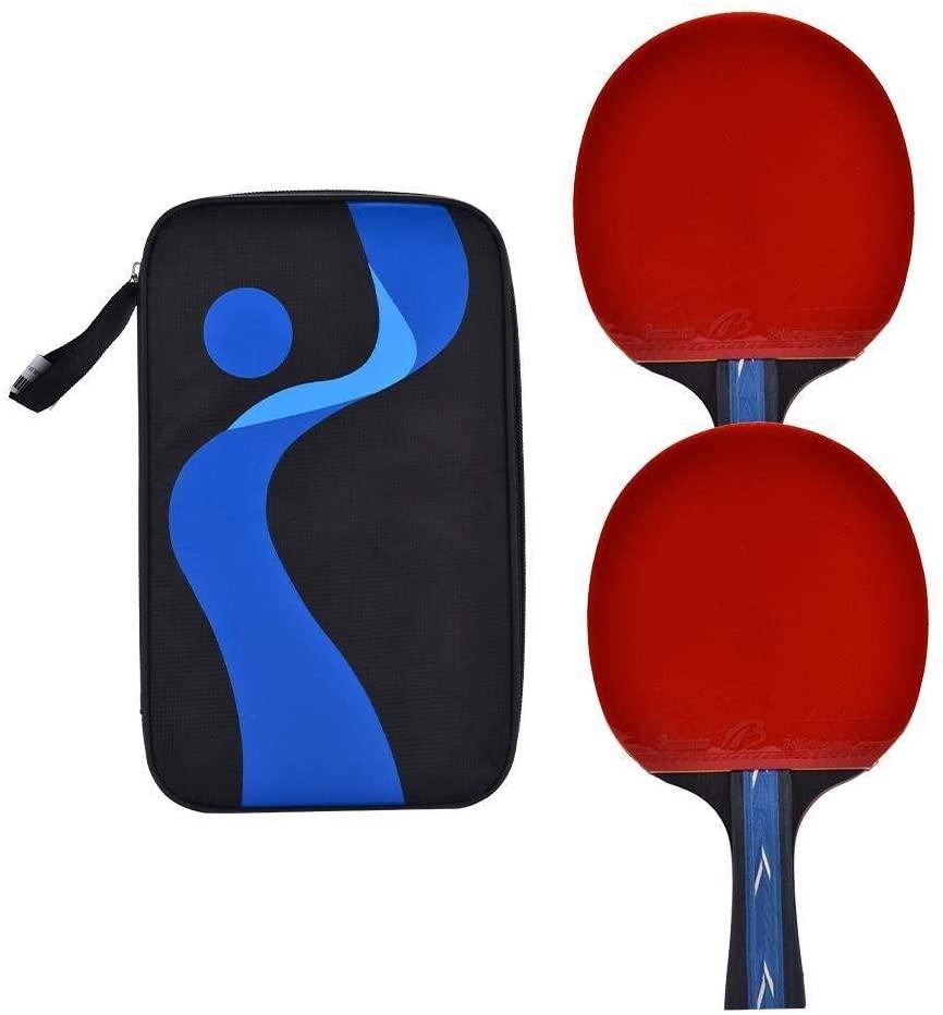 KSTE 1pc Ping Pong Bat Table Tennis Racket Portable Bag Sports Accessory (Hand-Shake Grip bat)
