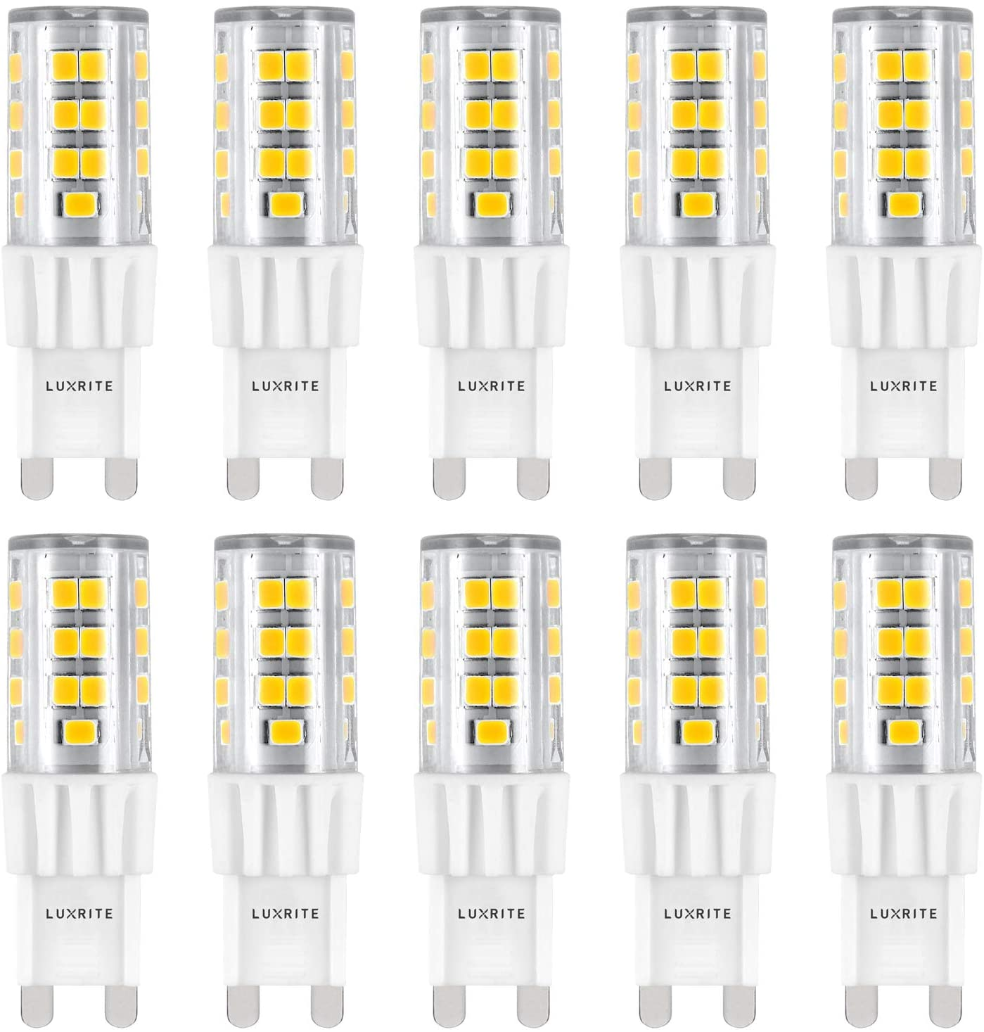 Luxrite G9 LED Bulb, 50W Equivalent, 550 Lumens, 4100K Cool White, Dimmable, 5W T4 Bulb, G9 Base - Chandelier Lighting, Sconce, Under Cabinet, Ceiling Fan, and Accent Lighting (10 Pack)