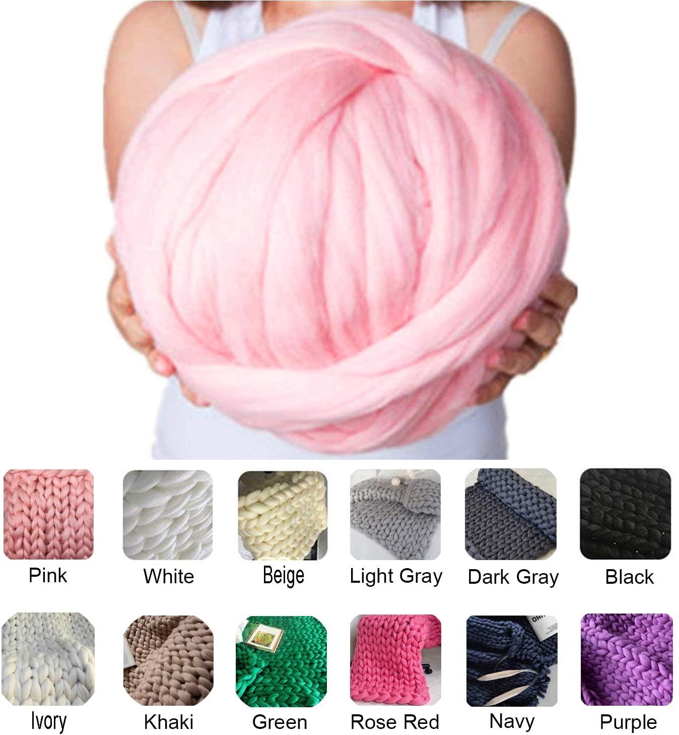 clootess Chunky Merino Wool Yarn Bulky Big Roving for DIY Hand Made Knit Blanket Throw - Pink 8 lbs