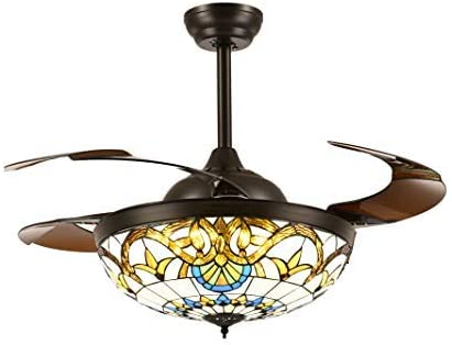 SILJOY Tiffany Retractable Ceiling Fan with Lights and Remote Mediterranean Style Chandelier Invisible Brown Blades Fandelier Brightness Dimmable LED Stepless Adjustable (Warm/Daylight/Cool White) 42 Inches