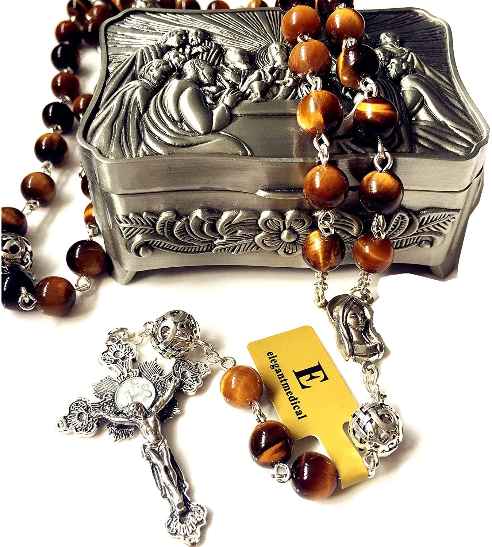 elegantmedical Handmade Bali Sterling Silver Beads & Tiger Eye Gift Rosary Cross Necklace Box